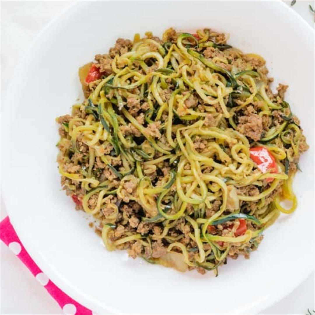 Zucchini Noodles and Ground Beef Stir Fry