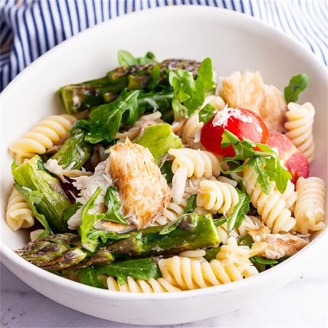 Smoked Mackerel Pasta Salad with Asparagus • The Cook Report