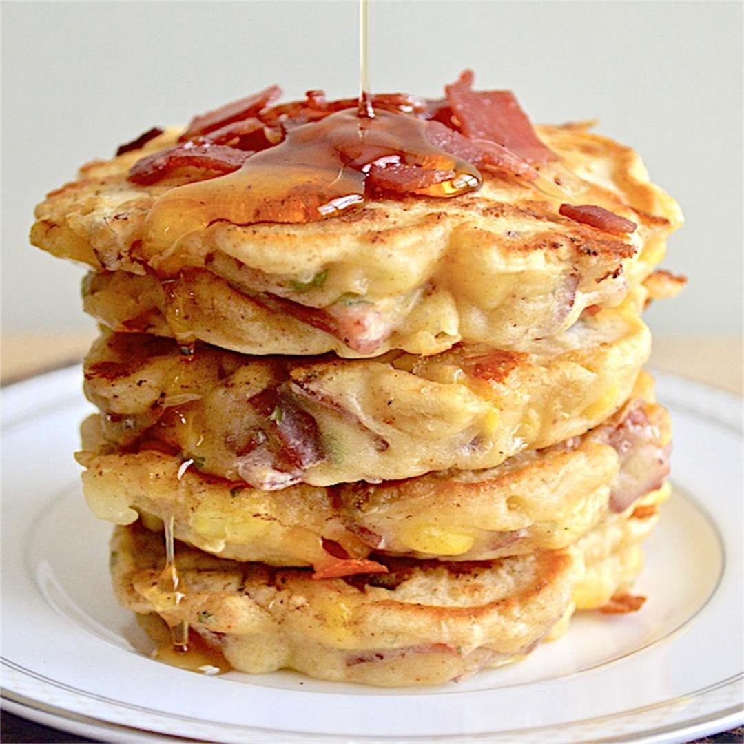 Cheesy Turkey Bacon and Corn Griddle Cakes - Jeanie and Lulu's