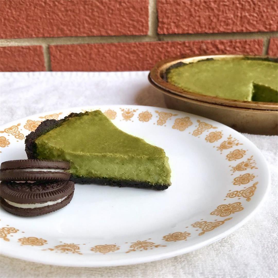 Vegan Baked Matcha Cheesecake With Oreo Crust