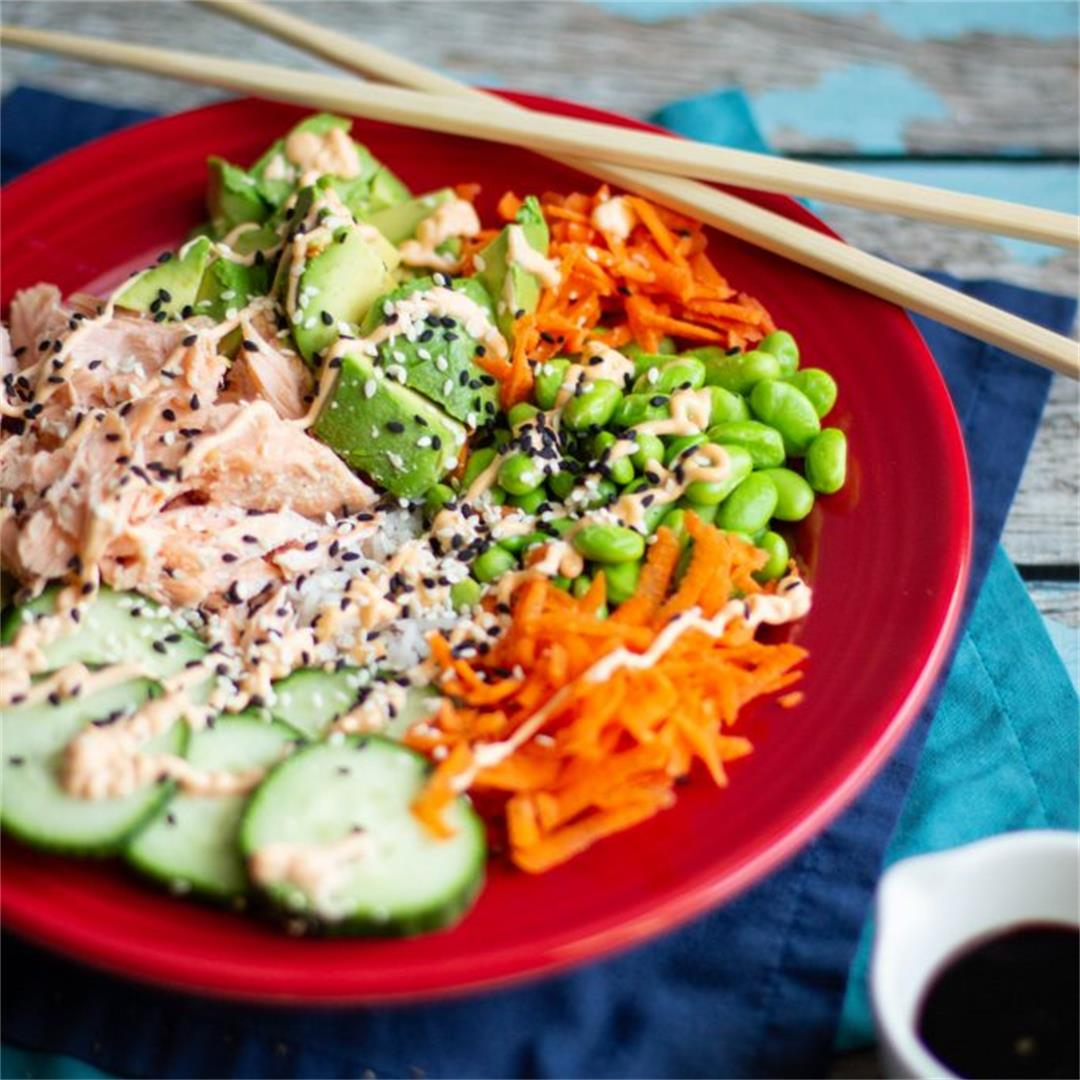Spicy Salmon Sushi Bowls Recipe