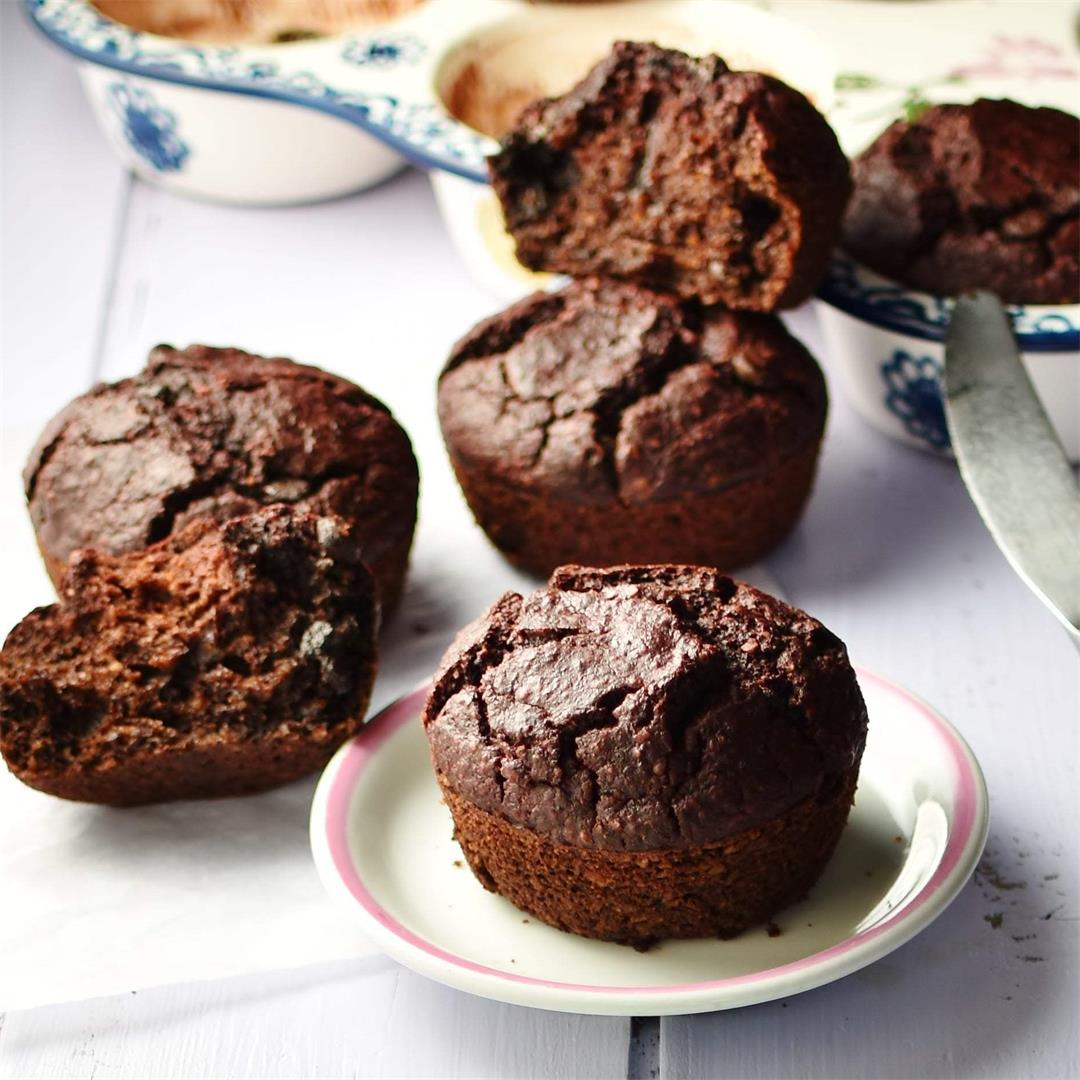Beetroot Chocolate Muffins with Chocolate Chips