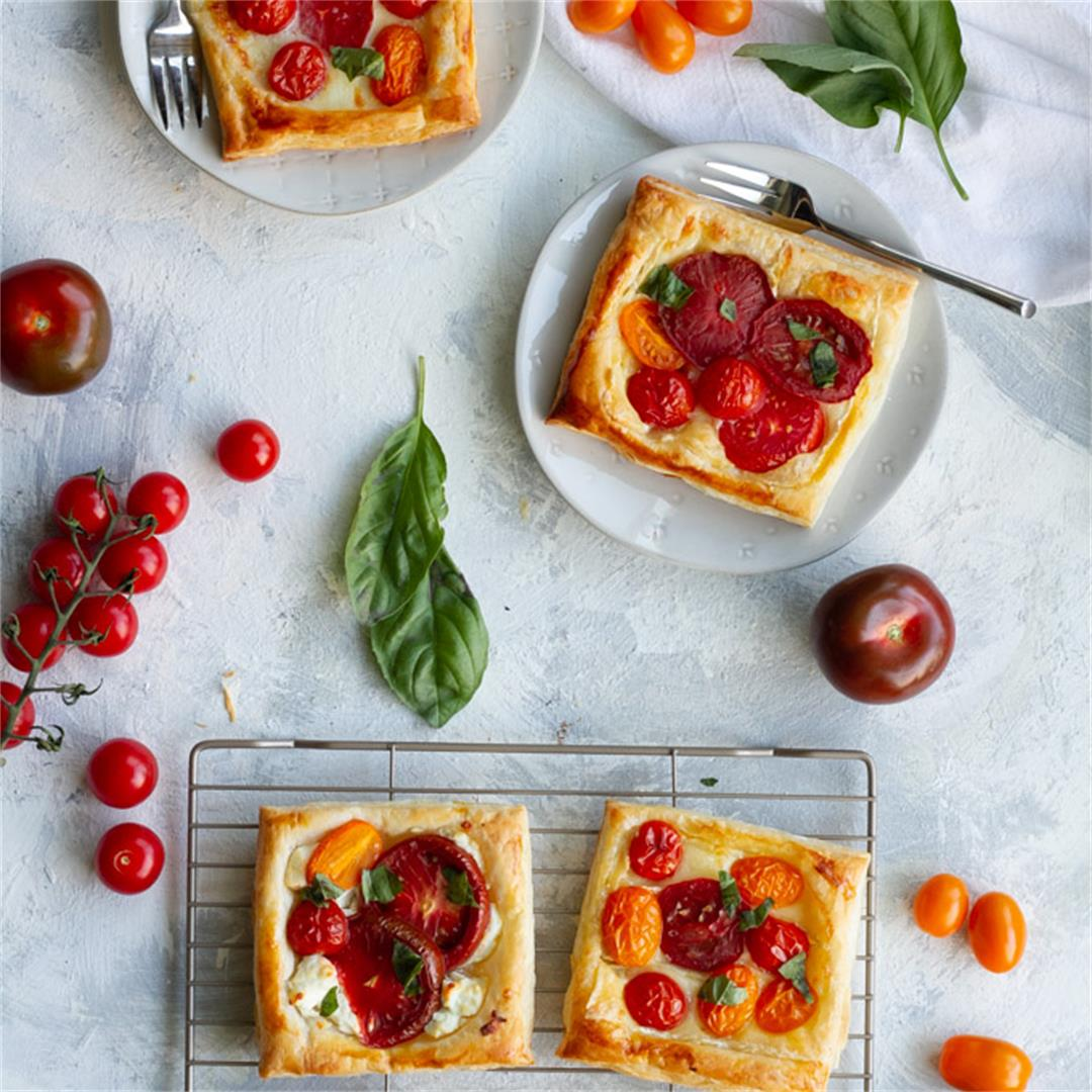 Puff Pastry Tomato Tarts with Cheese + Herbs