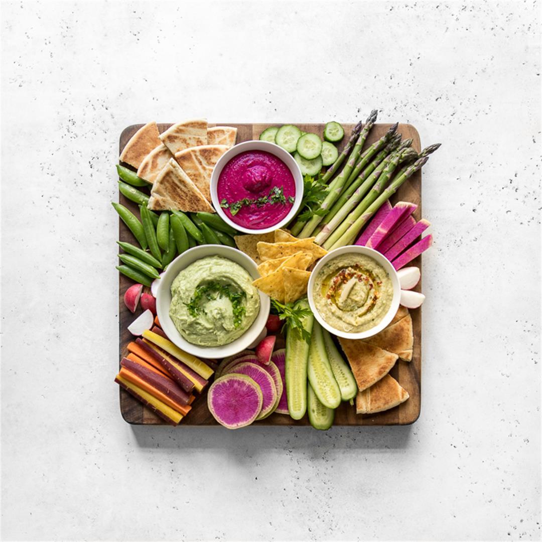 Crudités Platter with White Bean Dip 3 Ways