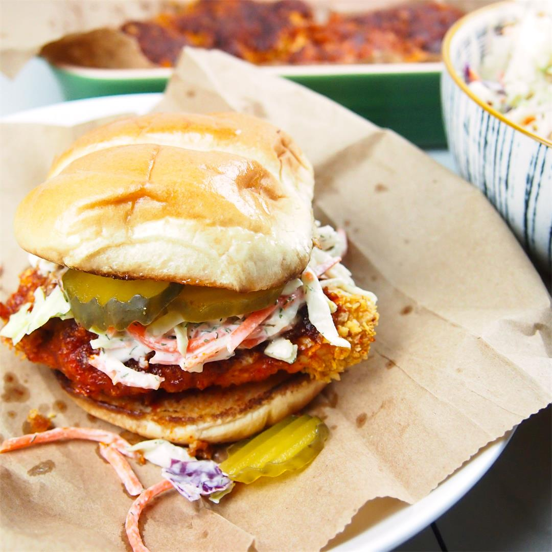 Nashville-Style Oven Fried Hot Chicken Sandwich with Dill Slaw