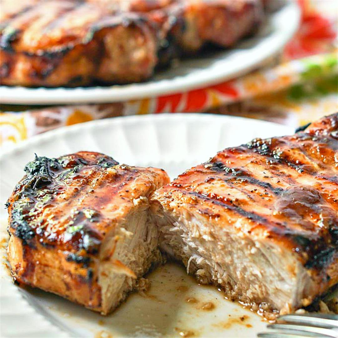 Low Carb Grilled Glazed Pork Chops for a Father's Day Feast