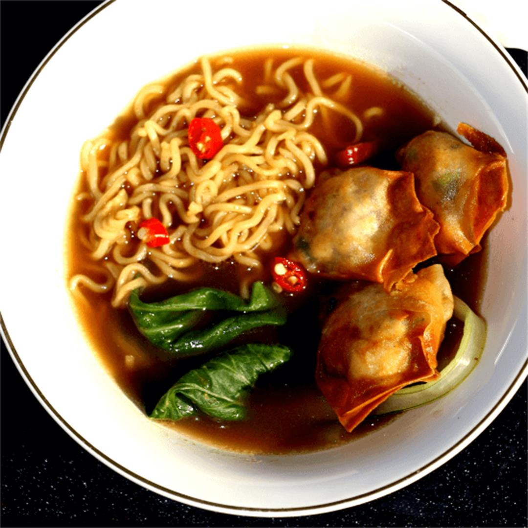 Vegan fried hot tofu wonton soup