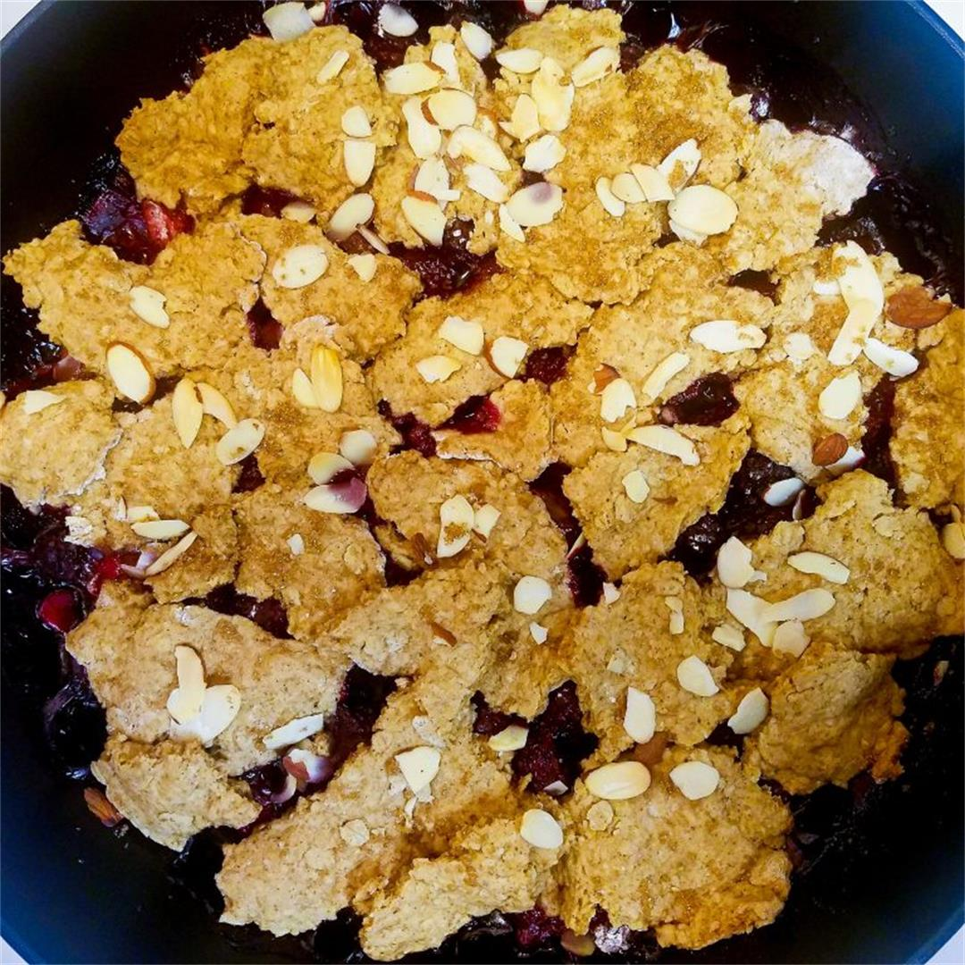 Triple Berry Cobbler Topped with Almonds