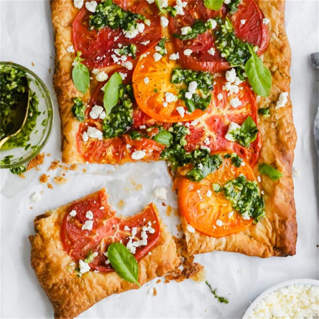 Heirloom Tomato Tart with Basil Sauce