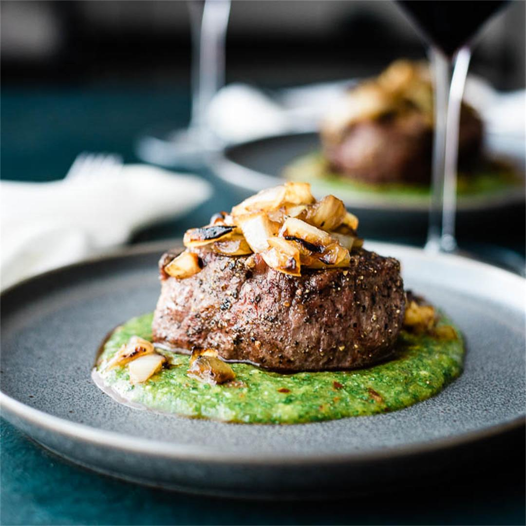 Filet Mignon with Peach Mango Cilantro Sauce