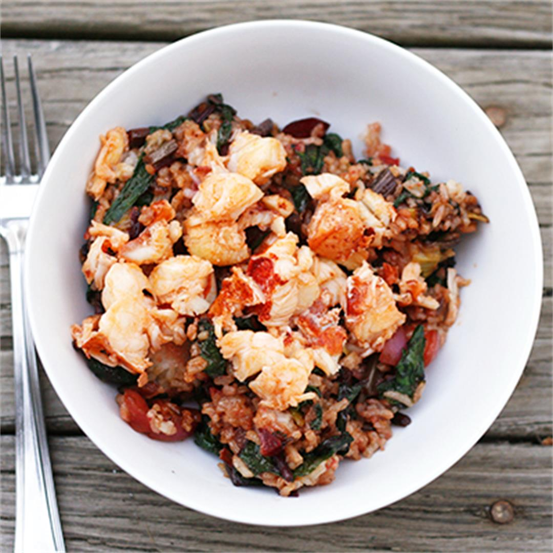 Leek, Beet and Radish Fried Rice with Buttery Lobster