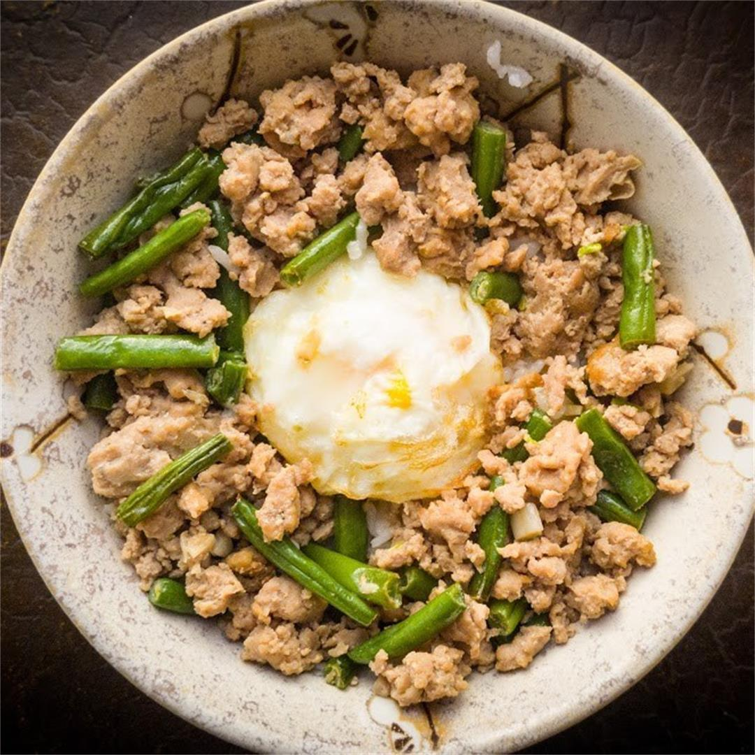 Thai Style Minced Meat with Egg over Rice