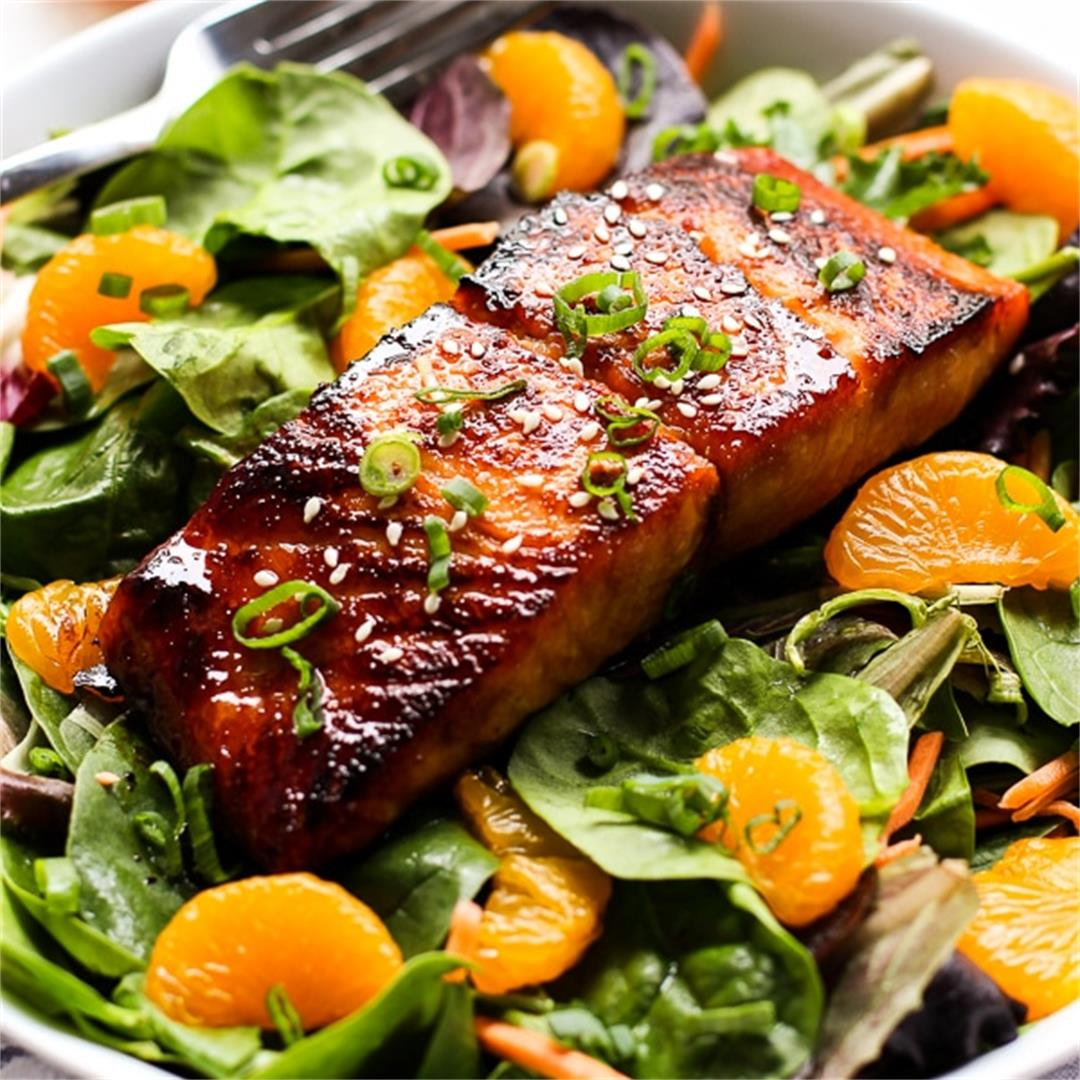 Asian Salmon Salad with Ginger Soy Dressing