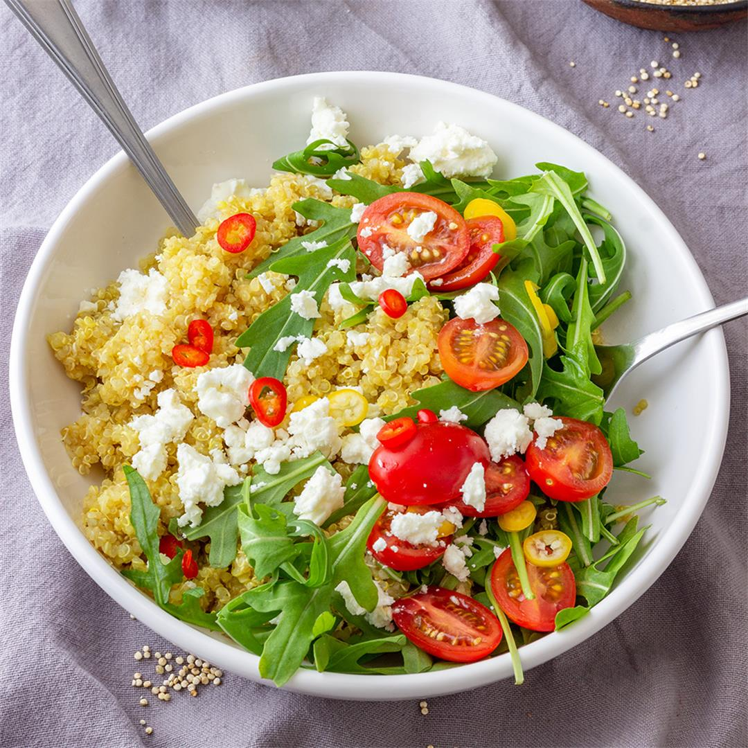 Cold Quinoa Salad with Feta and Arugula