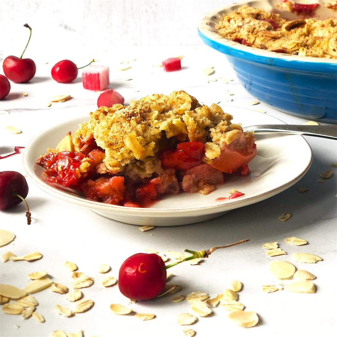 Strawberry Rhubarb Cherry Crisp