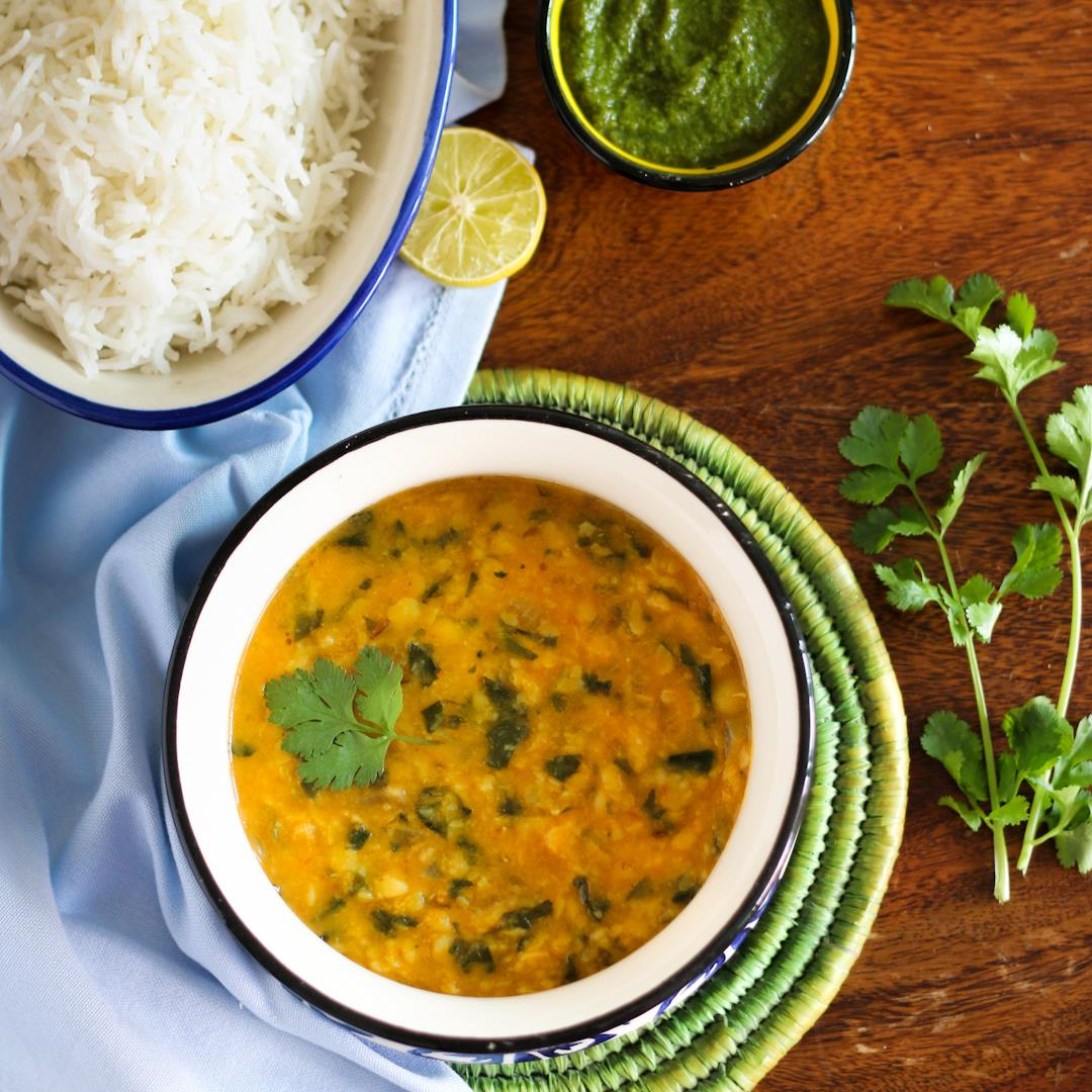 Methi-Dal tadka: Yellow lentil curry with fresh fenugreek