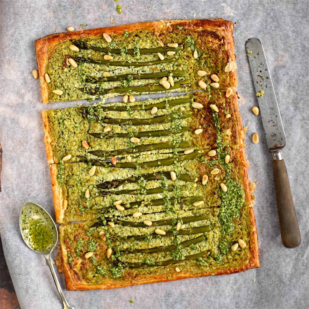 asparagus, ricotta and basil tart