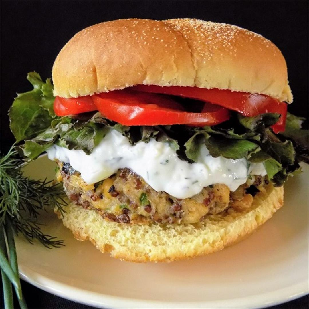 Greek Veggie Burgers with Tzatziki