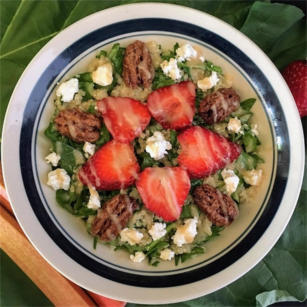 Strawberry Quinoa Salad with Rhubarb Vinaigrette