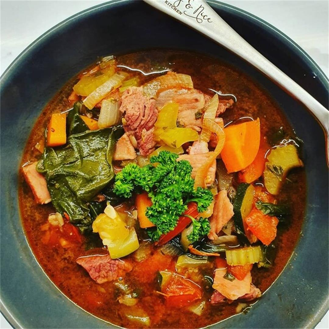 Keto Hearty Beef and Bacon Soup