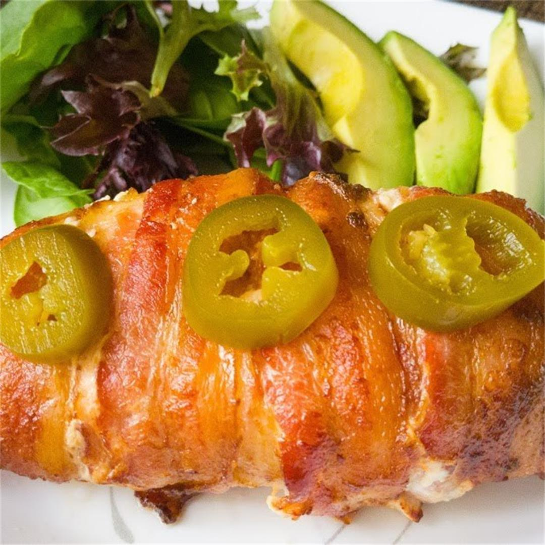 Bacon Wrapped Jalapeno Cream Cheese Stuffed Chicken Breast