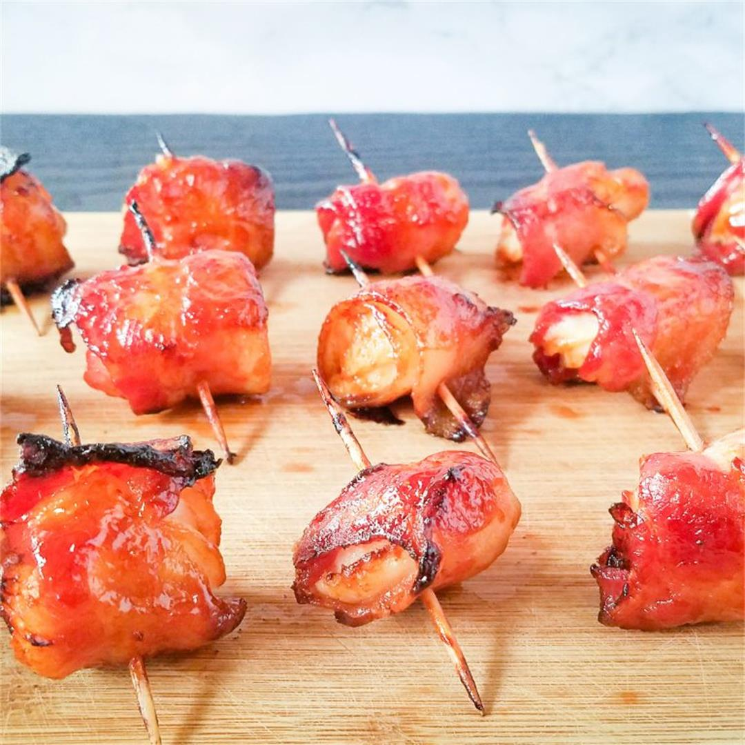 Glazed Bacon-Wrapped Water Chestnuts