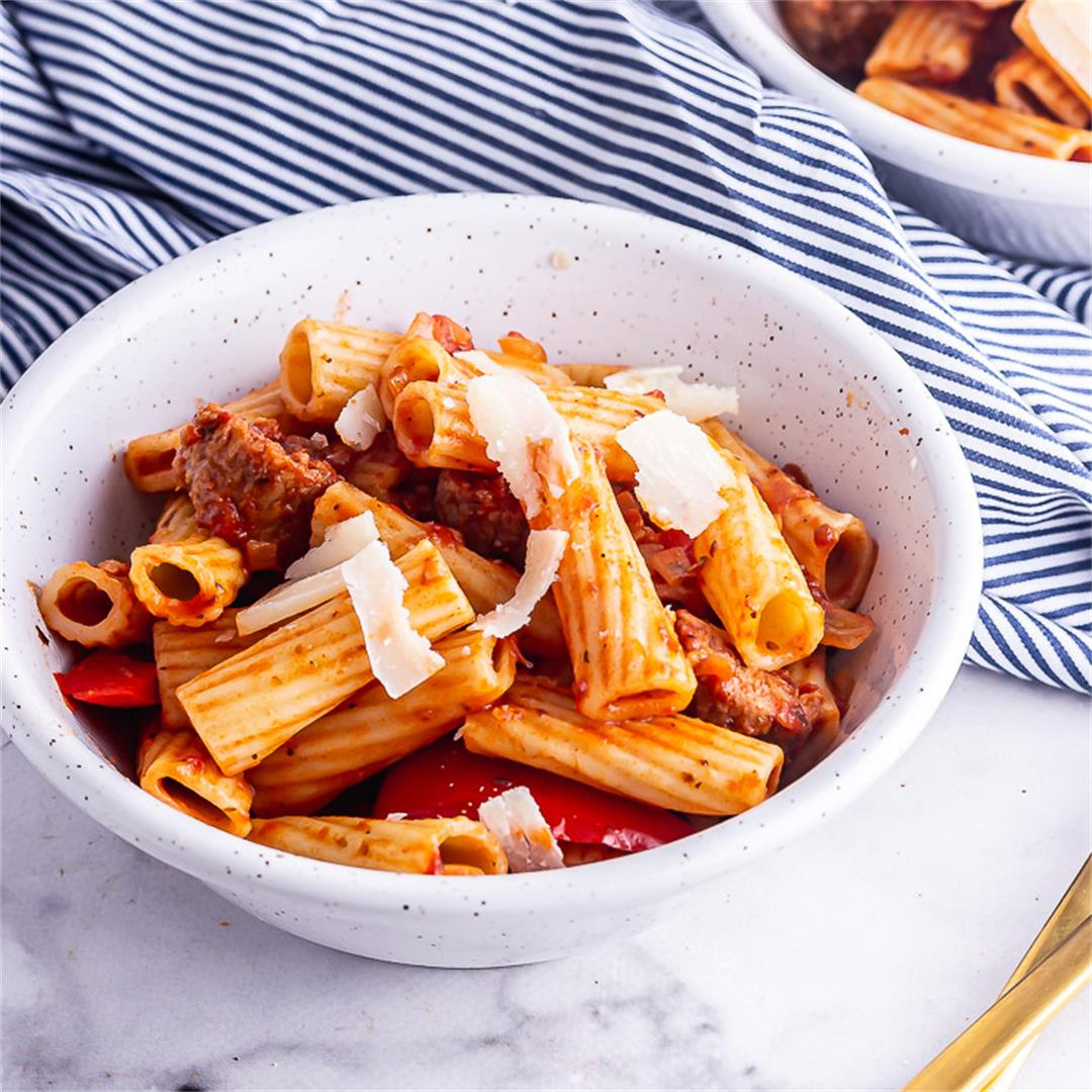 Sausage Pasta with Peppers & Tomato Sauce