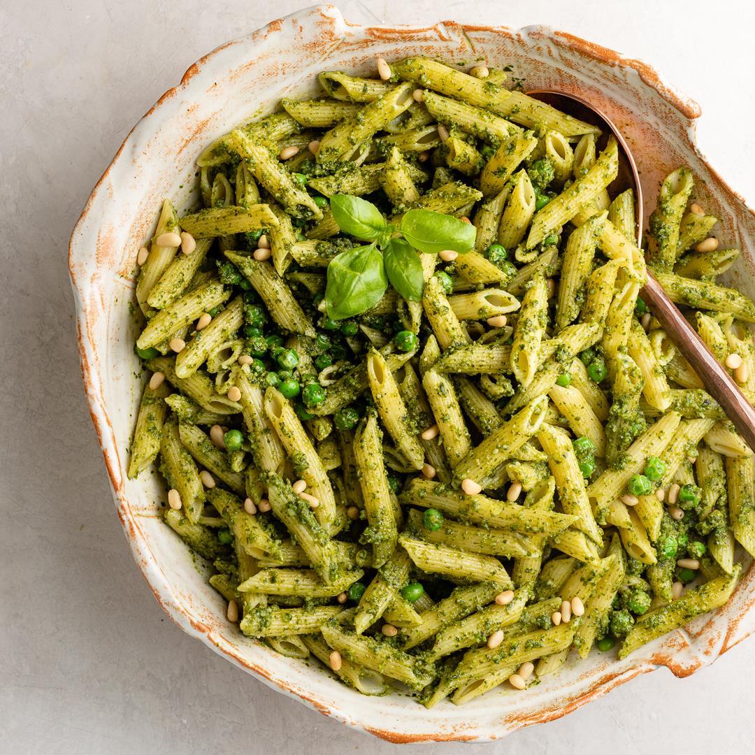 Fresh Pesto Pasta with Peas