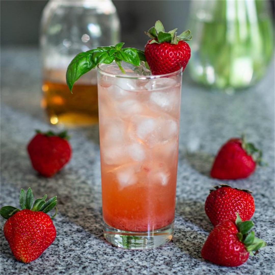 Strawberry Basil Vodka Collins Recipe