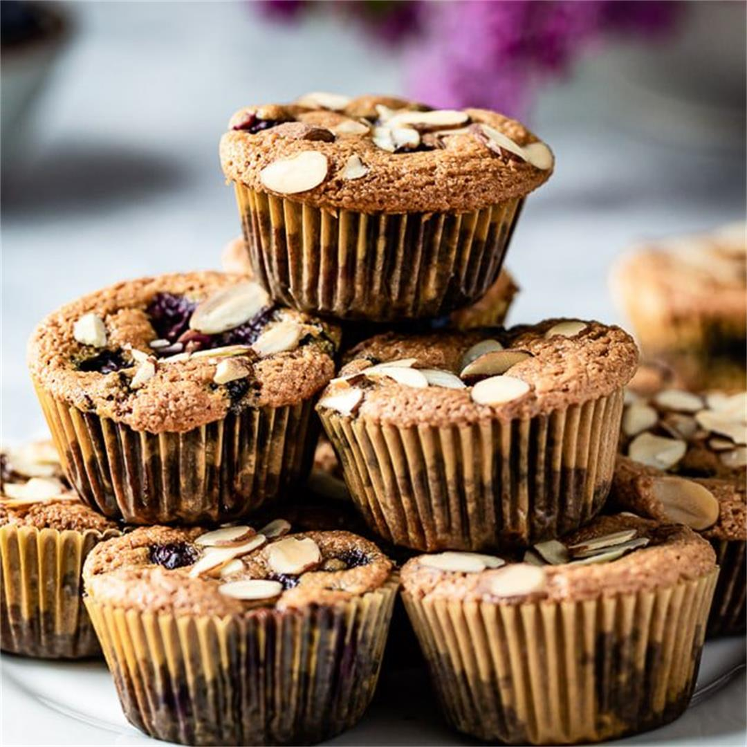 Easy Gluten Free Blueberry Muffins with Almond Flour