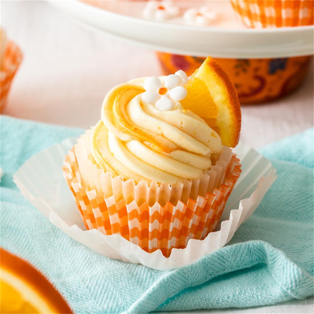 Orange Cupcakes with Creamy Orange Buttercream