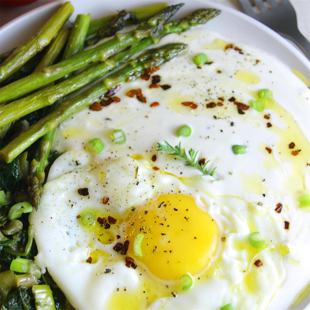 Whippes Feta with Asparagus Eggs