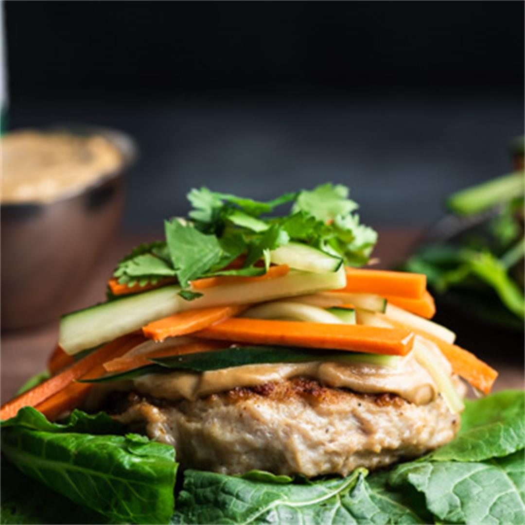Chicken Burgers with SunButter Satay Sauce