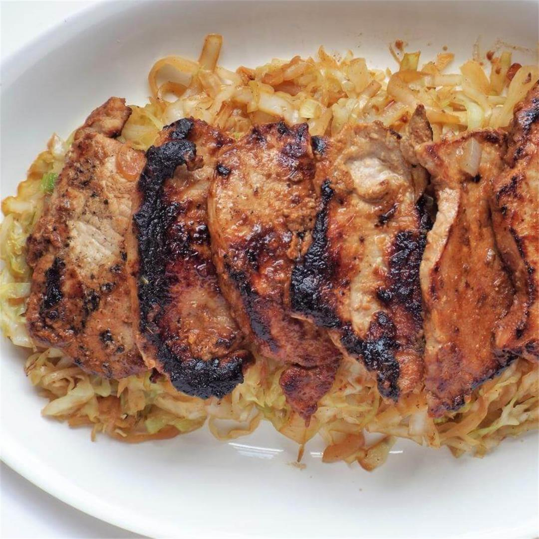 Miso Ginger Pork Chops with Cabbage