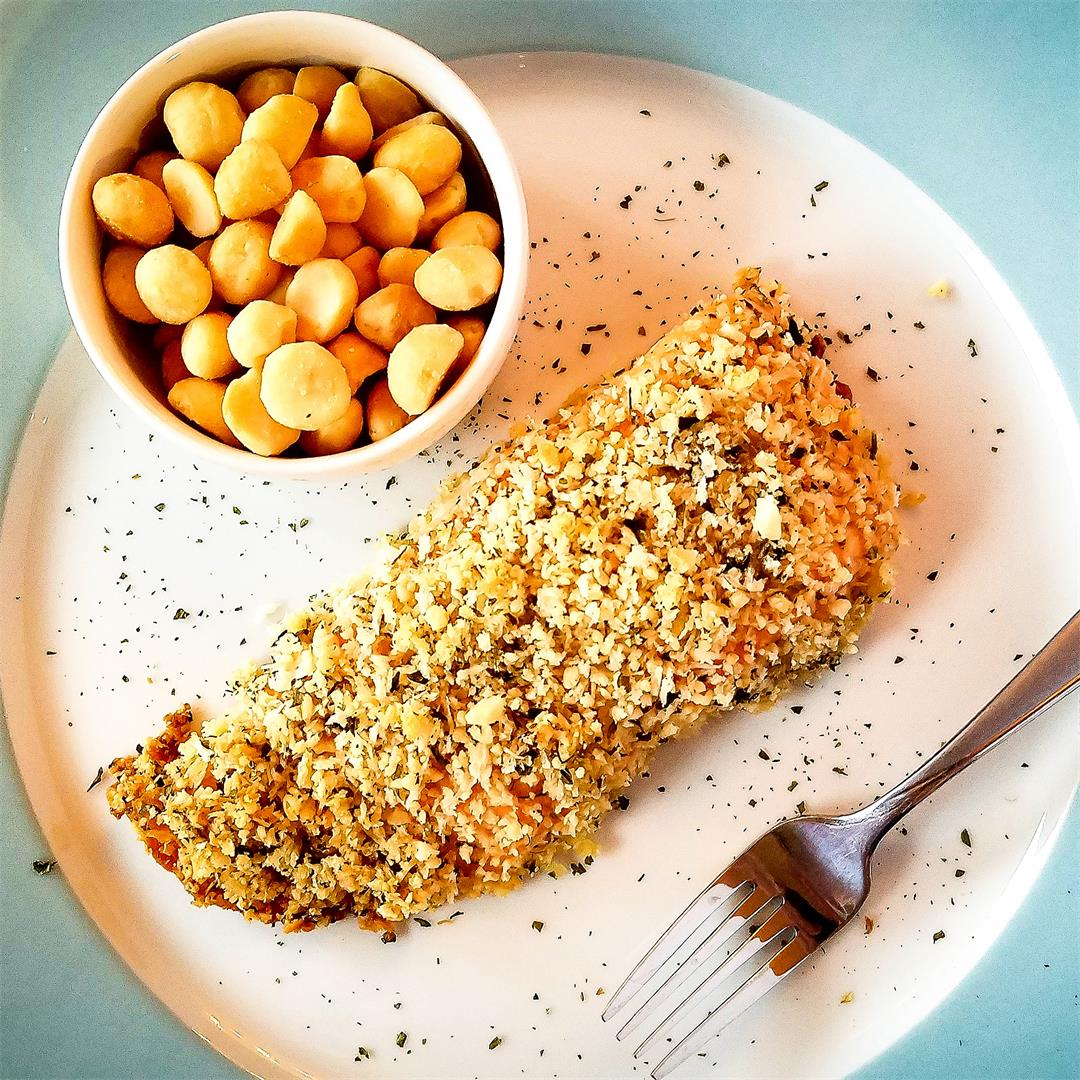 Coconut Macadamia Nut-Crusted Salmon