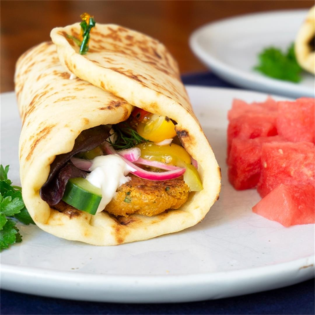 Healthy Falafel Wraps with Garlic Yogurt Sauce