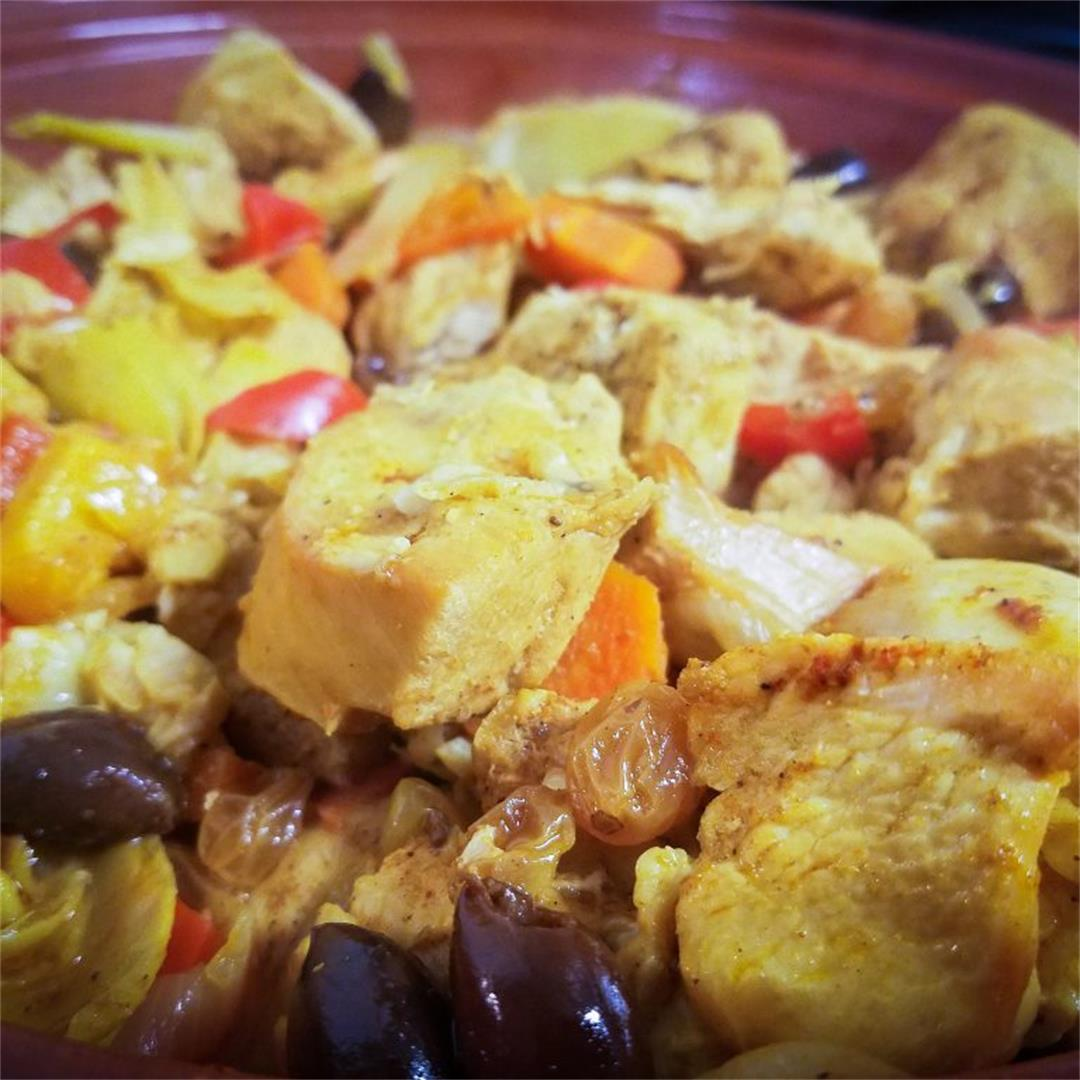 Moroccan Chicken Tagine with Olives & Raisins