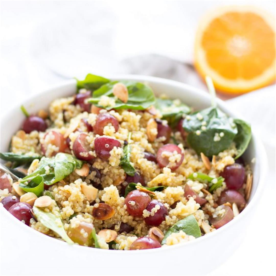 Toasted Almond, Grape & Spinach Quinoa Salad