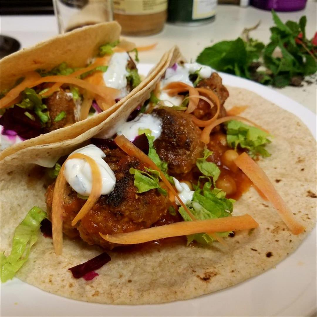 Traditional Falafel with Stewed Chickpeas & Tzatziki