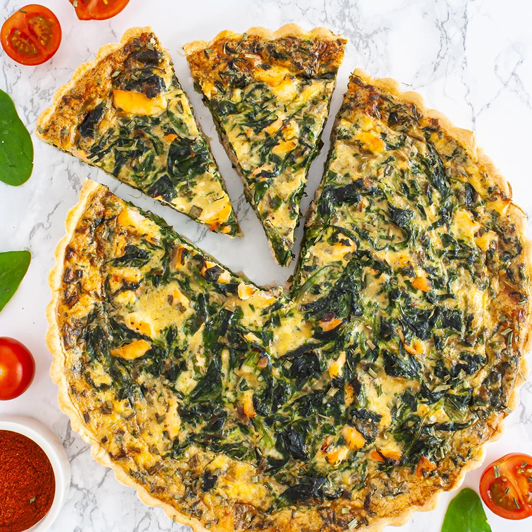 Dairy Free Salmon and Spinach Quiche