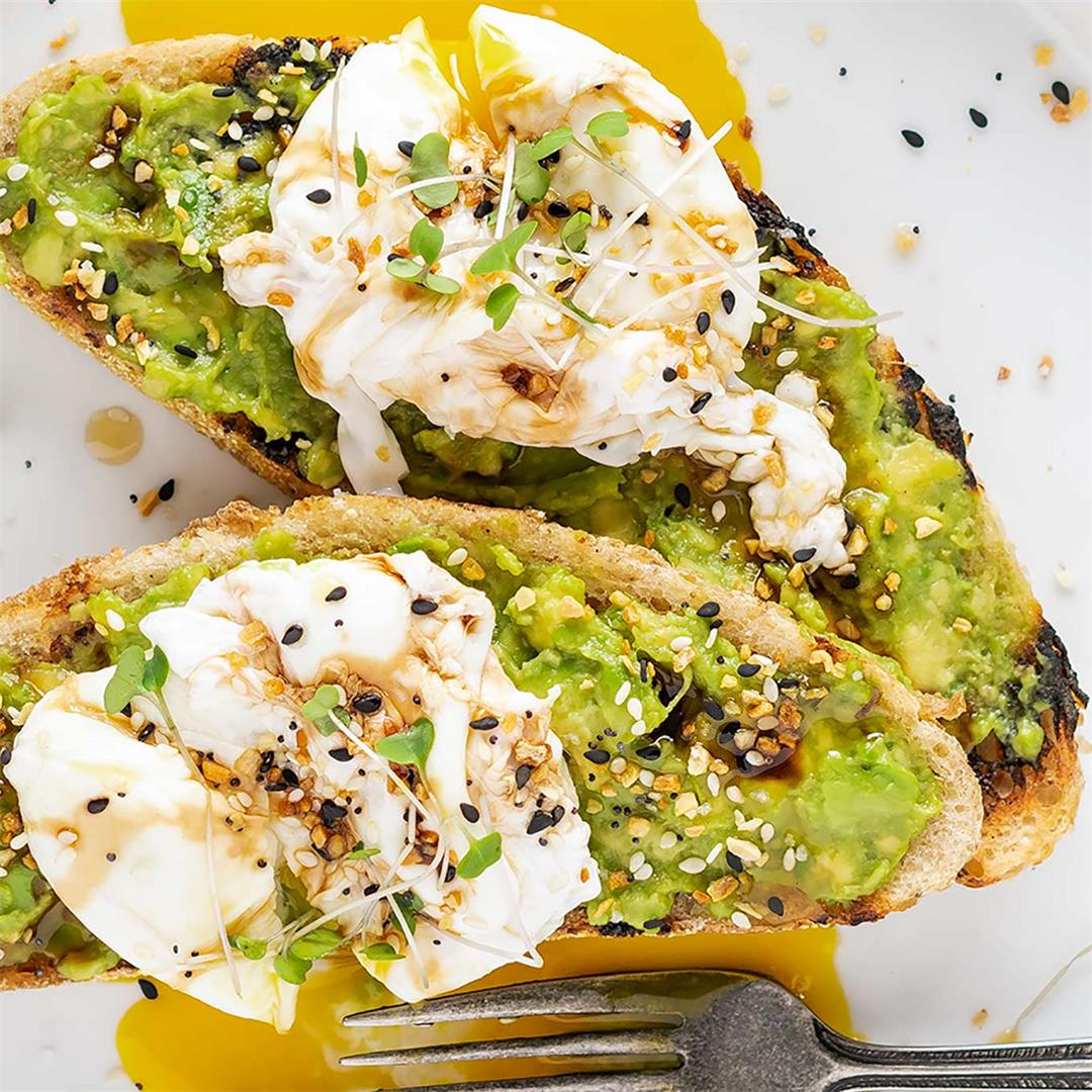 Avocado Toast With Poached Egg On Grilled Sourdough