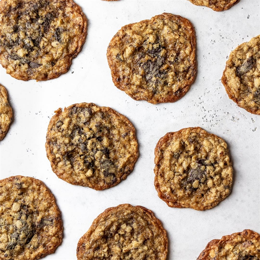 Thin and Chewy Oatmeal Chocolate Chunk Cookies