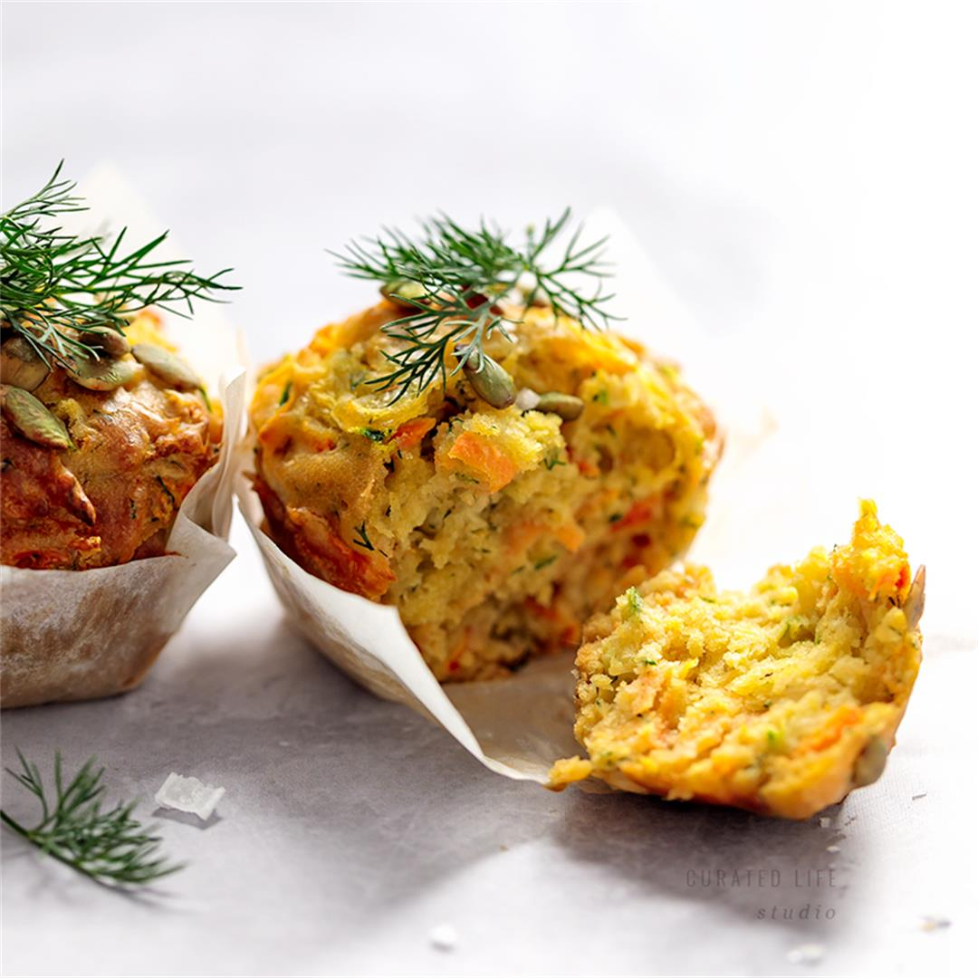 Zucchini and Carrot Egg Free Savoury Muffins