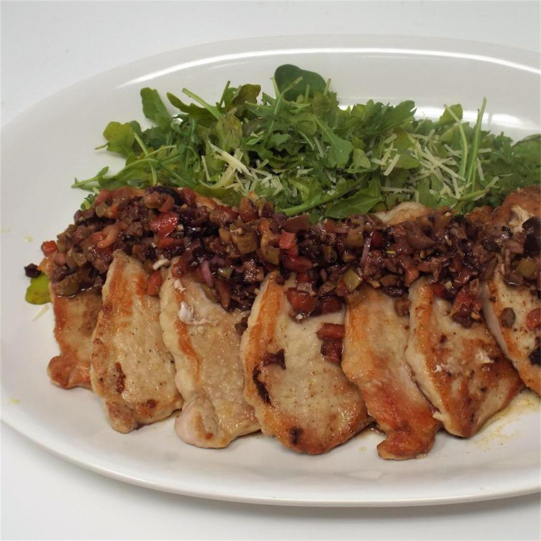 Pork Chops with Balsamic, Olive & Tomato Relish