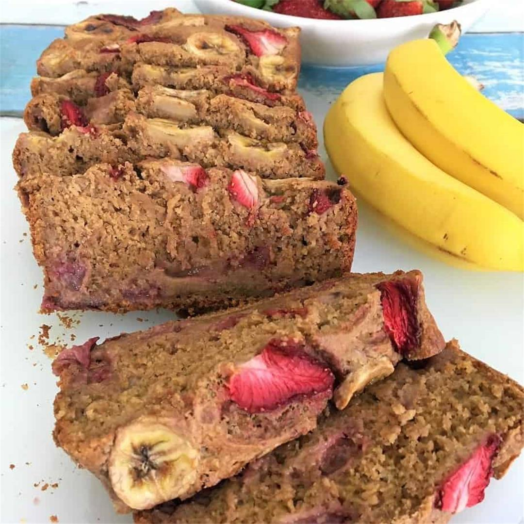 Strawberry Banana Bread (Vegan & GF)