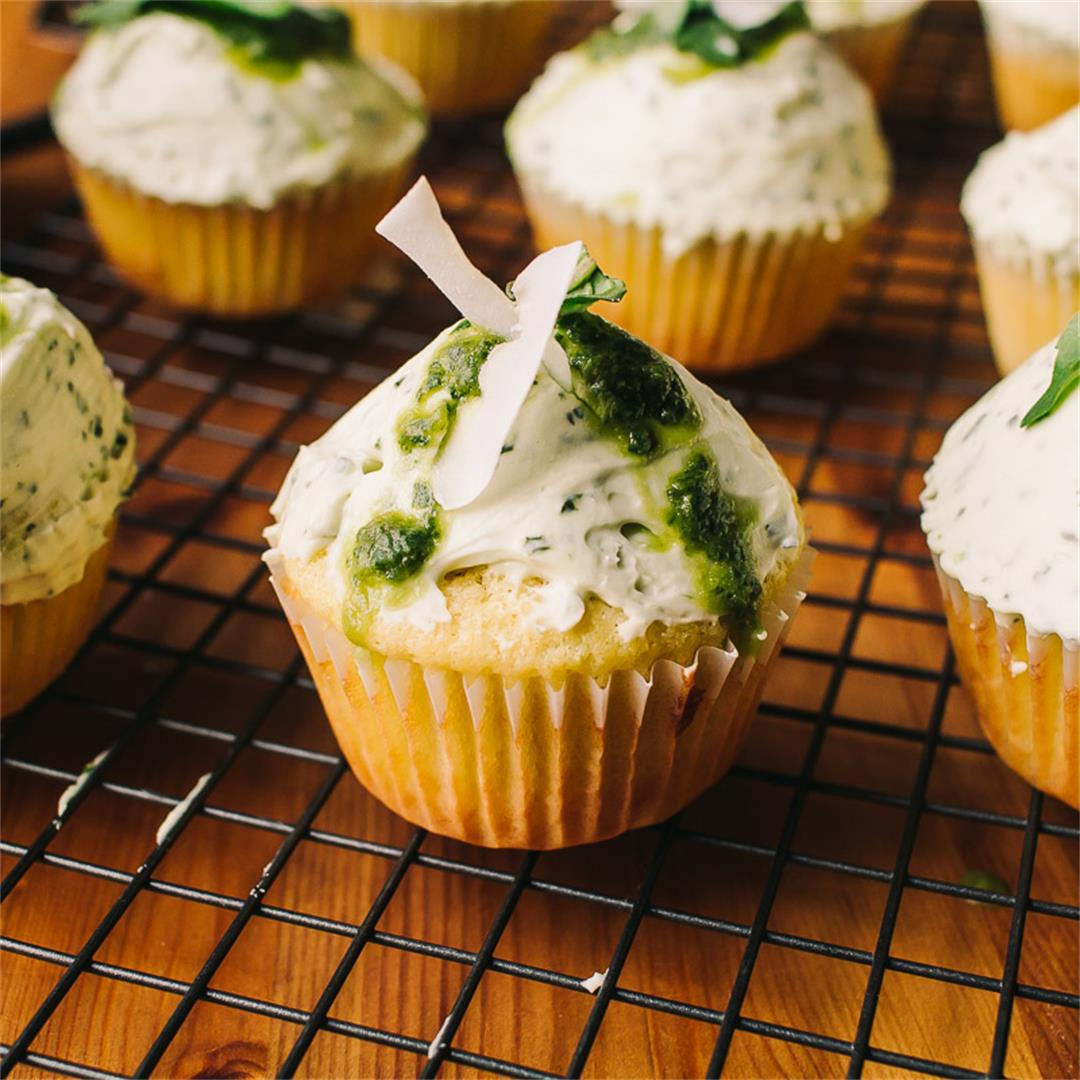 Low Carb Thai Basil Lime and Coconut Cupcakes