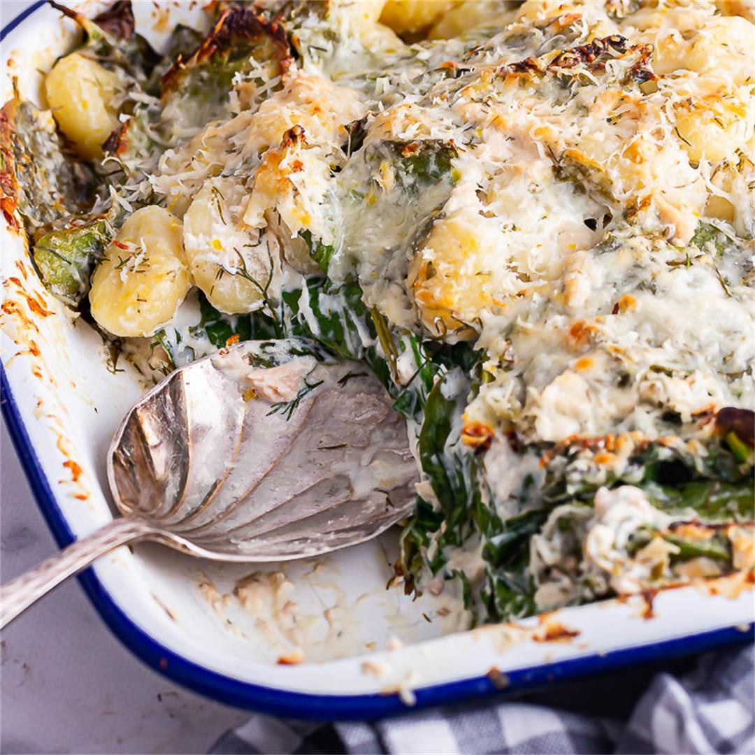 Salmon Gnocchi Bake with Spinach