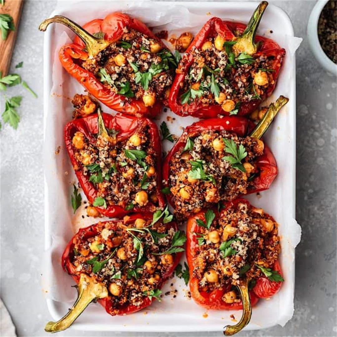 Chickpea and Quinoa Harissa Stuffed Peppers