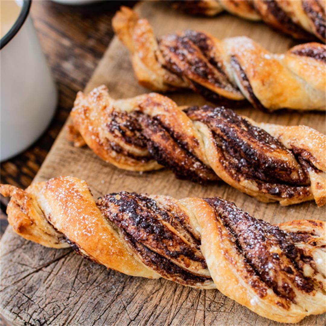 Vegan chocolate twist pastry