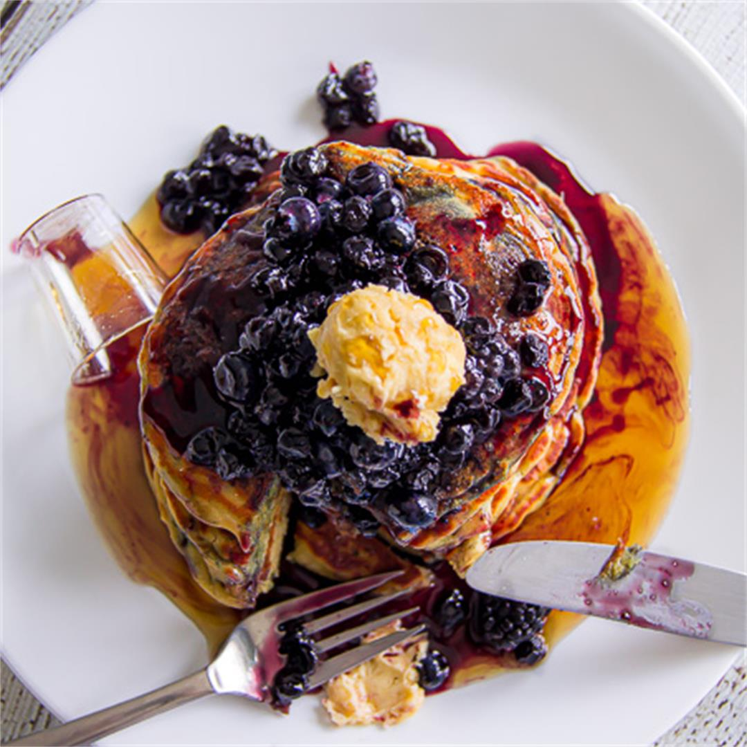 Blackberry Pancakes (with Brown Sugar Butter)